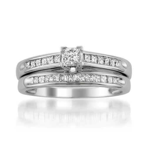 La4ve Diamonds 14k White Gold Princess-Cut Diamond Engagament Wedding Bridal Set Ring Band (1/2 cttw, I-J, I2-I3), Size 7