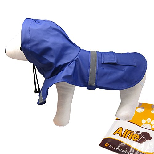 Alfie Pet - Pluvia Rainy Days Waterproof Raincoat (for Dogs and Cats) - Color: Navy, Size: L