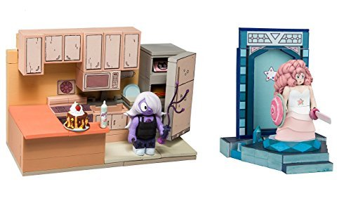 Steven Universe - Rose Quarts with Temple Door Warp Pad and Amethyst with Steven Kitchen - Set of 2 Construction Sets ()