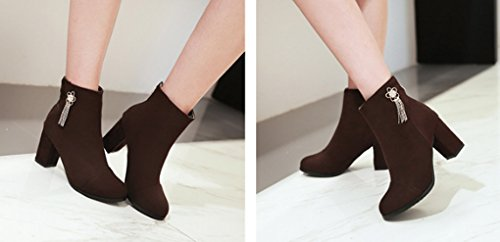 XZ Autumn and Winter Comfortable Thick High-Heeled Fringed Decoration Low Boots Brown nnqTkPdj8