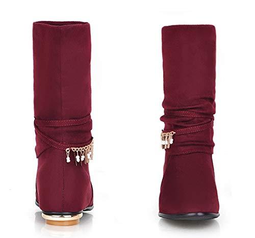 Toe Velluto Winered Mid Stivali Con Donna Scivolare Slip Caldo Su Boots Tube Per Strass Mantenere Più wXwZCaTvqx