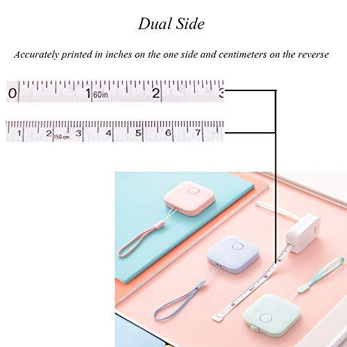 60 inch,1.5m Body Measuring Soft Retractable for Sewing Double-Sided Tailor Cloth Ruler for People Who are on Diet,4 Colors Push Button Tape Uooker 4 Pack Soft Tape Measure