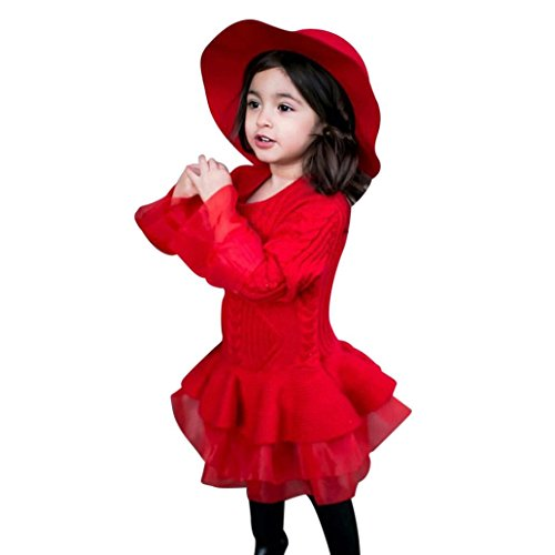 (Sunbona Toddler Baby Girls Princess Cute Autumn Winter Knitted Sweater Outerwear Pullovers Crochet Tutu Dress Blouse Coat Clothes (6T(4~5years), Red) )