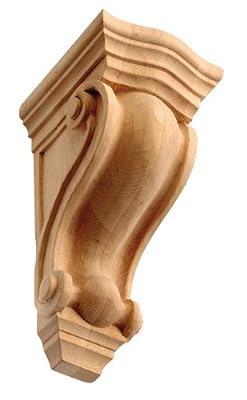 """10-1/2"""" Hand-carved Solid Alder Hardwood Ornamental Corbel IWW37-M-ALD"""