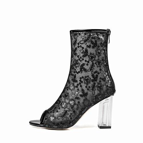 Latasa Womens Peep-Toe Block Heel Short Summer Boots Black GRkRxr