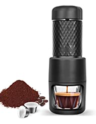 STARESSO Portable Espresso Maker, Upgrade Version Manual Espresso Machine, 20 Bar Pressure for Capsule and Ground Coffee, Reddot Award Winner FDA Approved, Perfect for Travel Camping Kitchen Office