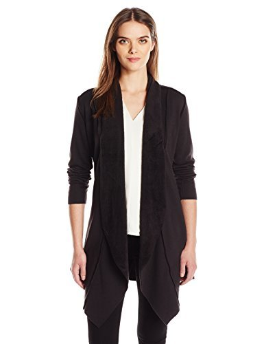 French Laundry Women's Shawl Collar Flyaway Cardigan Sweater, Black, XL