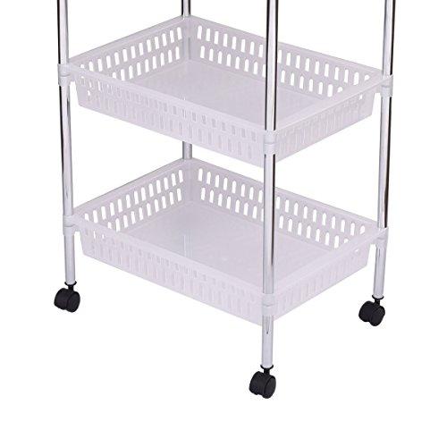 Giantex 4 tier rolling cart storage trolley utility cart - Bathroom storage cart with wheels ...