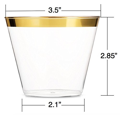 JN & Home Co - Premium 100 Gold Plastic Cups - 9 oz Gold Rimmed Clear Plastic Old Fashioned Tumblers - Elegant Disposable Wedding and Engagement Cups - Fancy Dessert Cups