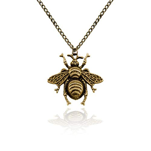 Antiqued Golden Bee Pendant Necklace]()