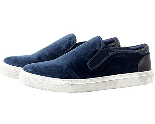 Santimon Herenmode Sneaker Fluwelen Chelsea Casual Instappers Slip-on Blauw