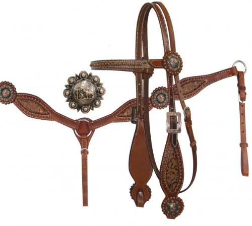 (Headstall and Breast Collar Set with Brown Filigree Inlay and Praying Cowboy Conchos Medium Oil)