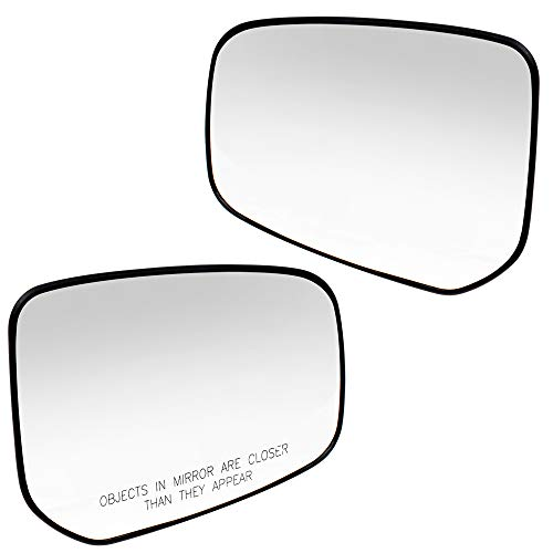 Brock Pair Set Side Mirror Glass & Bases for 14-18 Mitsubishi Mirage 17-18 Mirage G4 Heated replaces 7632B601 7632B602