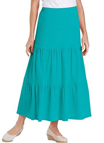 Plus Tiered Skirt - 100% Cotton Crinkle Tiered Skirt, Jade, Size Extra Large (2X)