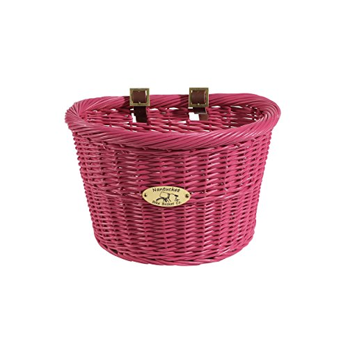 Nantucket Bicycle Basket Co. Cruiser Adult D-shape Basket, Pink