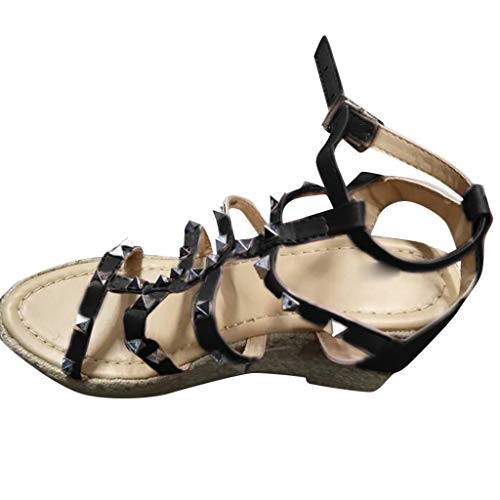 (Women's Platform Sandals Espadrille Wedge Ankle Strap Buckle Studded Open Toe T-Strap Sandals Heels Shoes Black)
