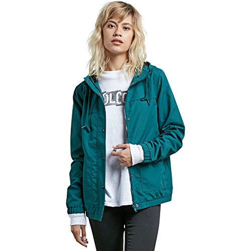 Volcom Junior's Enemy Stone Hooded Zip Front Windbreaker Jacket, Midnight Green L