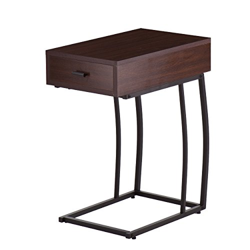 23.25'' Urban Snack Side Table with Power and USB Outlets in Walnut by Upton Home