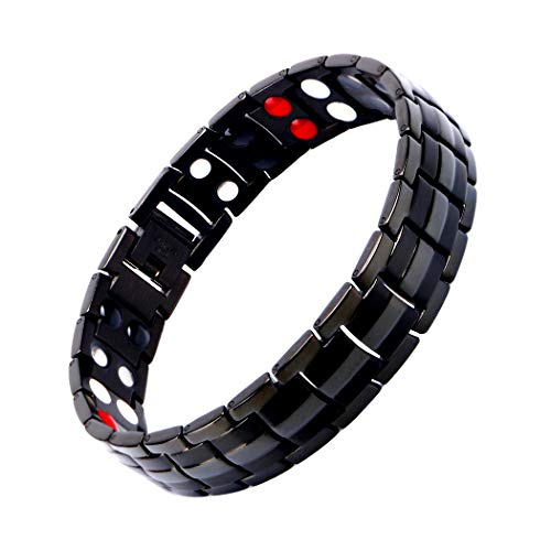 (Mens Magnetic Bracelet, Titanium Therapy Bracelets for Men Healthy Sleek Cuff Wristband for Relief Pain with Free Link Removal Tool )