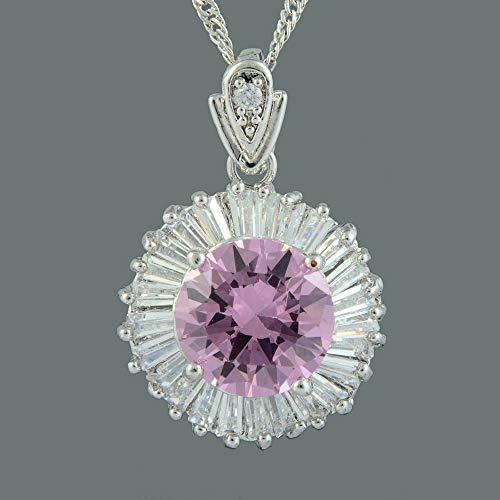 (FidgetKute Brass CZ 18K White Plated Pink Sapphire Round Cut Pendant Necklace Chain)
