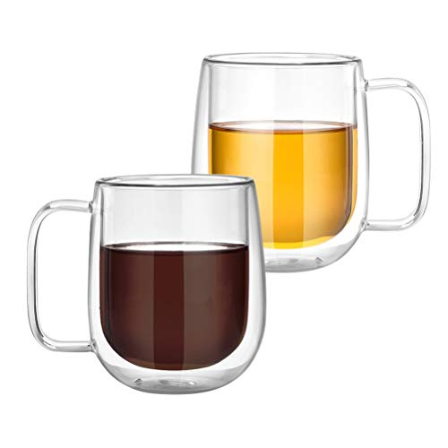 Tebery 2 Pack Coffee Mugs Drinking Glasses Double Wall Thermal Insulated Cups with Handle for Tea Latte Cappuccino Espresso(250ML)