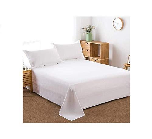 100% Cotton Flat Sheet Only- Superior Quality,Soft,Silky,Skin friendly,Breathable,Comfortable Bed Sheet (King, White) (King Size Flat Sheet Only)