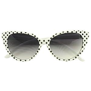 Sunglass Stop - Cute Small Round White Polka Dot 50s 60s Cat Eyes Sunglasses (White, Gradient Lens)