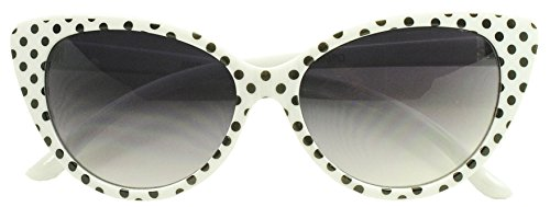 Black And White Vintage Cat Eyes Glasses (Sunglass Stop - Cute Small Round White Polka Dot 50s 60s Cat Eyes Sunglasses (White, Gradient Lens))