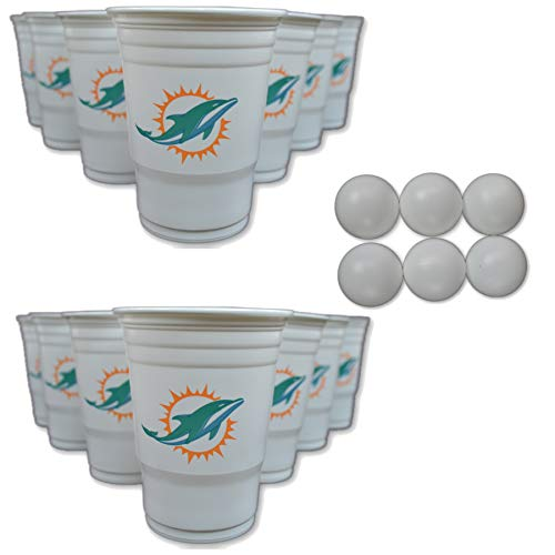 Siskiyou/Sport Mania NFL Fan Shop Beer Pong Set. Rep Your Favorite Team with The Classic Game of Beer Pong at Home or at The Tailgate Party - Comes with 22 Cups and 6 Ping Pong Balls (Miami Dolphins) - The Dolphin Beer