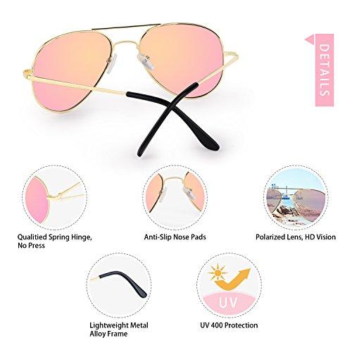 Hombre Lente oro de Polarizadas 400 de Protección Sol Gafas Mujer Rosa 03 Aviador Elimoons UV BdOx1qzB