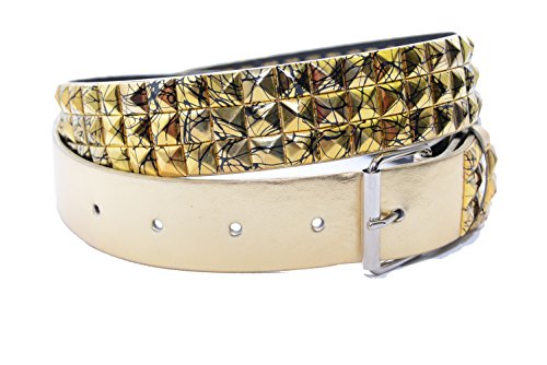Gold Studded Belt - Jinxer Premium F292 Gold With Black Splatter Men's Women's Leather Tattoo Print Belt Apparel and Accessories Graffiti Art Studded with Removable Snap Buckle Biker Punk Rock (Small 30-32)