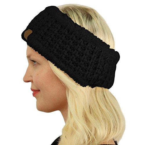CC BEANIE Winter Sherpa Polar Fleece Lined Thick Knit Headband Headwrap Hat Cap Black