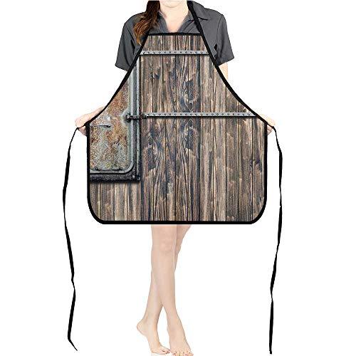 Jiahong Pan Kitchen Chef Apron Tree Planks Old Little Metal Boat Marine Door Print Brown and Grey Adjustable Bib Apron for -