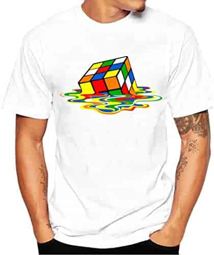 5a46e9b98 Napoo Men Boy Plus Size Cube Reflection Print Tees Short Sleeve Cotton T  Shirt