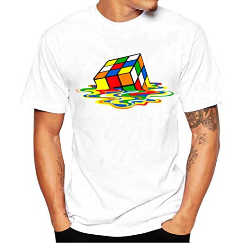 Napoo Men Boy Plus Size Cube Reflection Print Tees Short Sleeve Cotton T Shirt