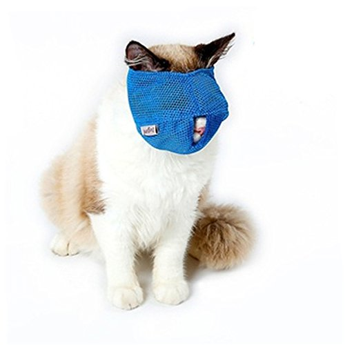 CH Breathable Mesh Cat Anti Bite Muzzles Cat Mouth Sets Bath Beauty Grooming Supplies (Blue L)