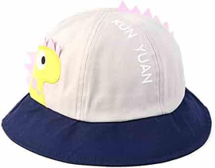 fef9a9a1 GYZ Children's Sun Hat - Wide-Brimmed Fisherman hat, UV Protection, Cute  Dinosaur