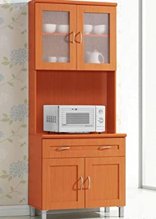 Amazon Com Hodedah Tall Standing Kitchen Cabinet With Top And