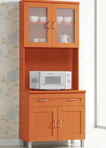 Amazon Com Hodedah Long Standing Kitchen Cabinet With Top Bottom Enclosed Cabinet Space One Drawer Large Open Space For Microwave White Kitchen