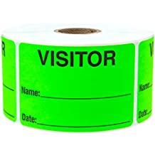Green Visitor Pass/500 Fluorescent Green Visitor Identification Labels Stickers