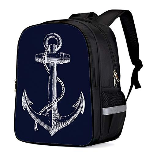Backpack for Children/Boys/Girls Navy Blue Nautical Anchor Pattern 3D Printing Shool Book Bag Daypacks Satchel Rucksack Hiking Travel Shoulders Bag Fits Laptop-Small