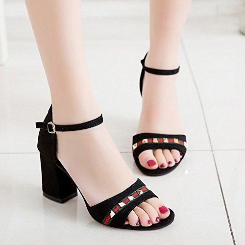 Sandales Les Épais Toe D'été Black Talons Bouche Peep Poissons Avec Tous Zhudj match Élèves Chaussures zq5cET