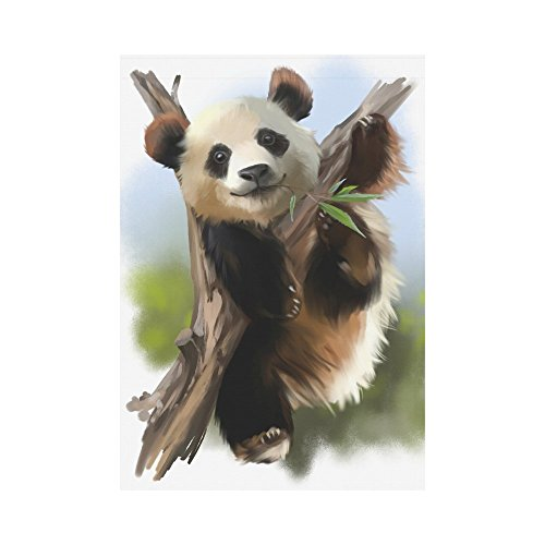 InterestPrint Cute Panda Bear on The Tree Polyester Garden Flag Outdoor Banner 28 x 40 inch, Chinese Animal Decorative Large House Flags for Party Yard Home Decor