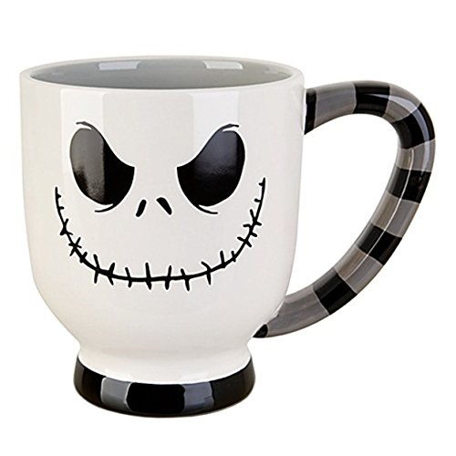 Disney Parks Exclusive Jack Skellington Striped Grinning Face Ceramic Mug