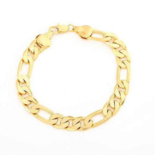 24K Gold Plated Links Classic Figaro Chain Link Bracelet Length 8.26