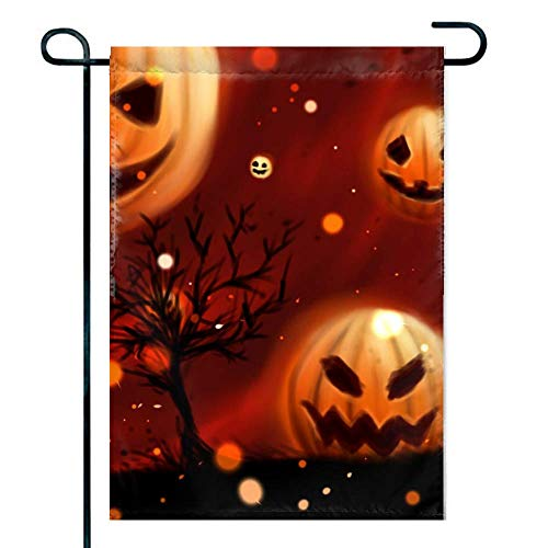 Amuseds Double Sided Premium Holiday Garden Flag,Pumpkin Halloween Wallpapers Decorative Garden Flags - 18 x 12 Inch