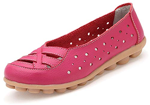 Fangsto Women's Leather Loafers Flats Sandals Slip-On US Size 7 Hot Pink ()