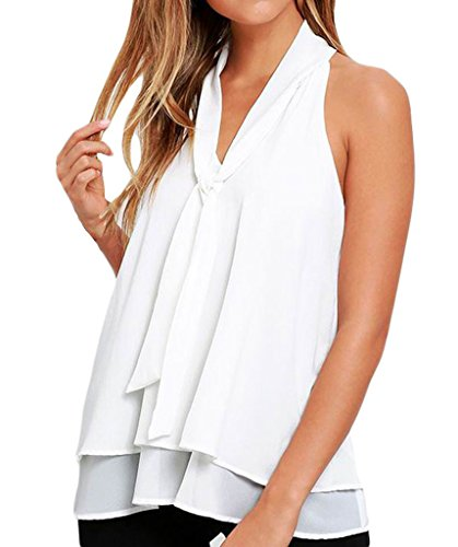 Shawhuwa Womens Chiffon Double Layer Ruffle Tie Sleeveless Tank Top Vest XL White