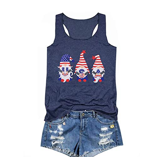 TAKEYAL USA Flag Printed Tank Tops Women's Sleeveless Tee T-Shirt for Independence Day
