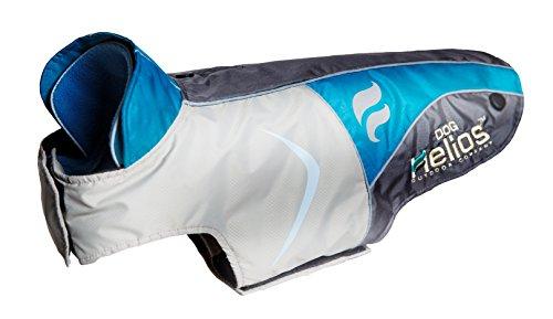 [DogHelios Lotus-Rusher Waterproof 2-in-1 Convertible Dog Jacket w/ Blackshark technology, Blue, Charcoal Grey, White, XS] (Blue Lotus Farm)